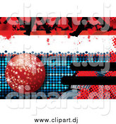 Vector Clipart of a Disco Background with a Red Disco Ball, Feet and Halftone by MilsiArt