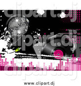 Vector Clipart of a Disco Ball with Headphones over a Record Player, with Pink Dots and Equalizer Bars by Elaineitalia