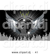 Vector Clipart of a Disco Ball with Wings, Headphones, Music Notes, Equalizer Bars, and a Burst over Black by Elaineitalia