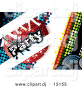 February 22nd, 2016: Vector Clipart of a Disco Party Background with a Red Ball and Dancing Feet by MilsiArt
