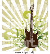 Vector Clipart of a Distressed Electric Guitar with Music Notes and Speakers over a Green Ray Background by OnFocusMedia