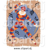 Vector Clipart of a Distressed Masked Entertainer Dancing Around Music Notes by Mheld