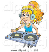Vector Clipart of a Dj Girl Wearing Headphones and Mixing Records by Visekart