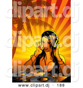 Vector Clipart of a Dj Girl Working Dual Record Turn Table Under Palm Trees with Orange Rays Background by Dero