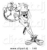 Vector Clipart of a Dj Guy Holding Pocket Watch - Black and White Outline by Andy Nortnik
