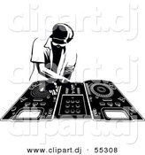 Vector Clipart of a DJ Man Mixing Records - Black and White by Frisko