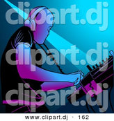 Vector Clipart of a DJ Mixing Music by Dero