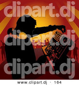 Vector Clipart of a DJ Mixing Music for People Dancing at a Party by Dero