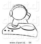 Vector Clipart of a Dj Mixing Records on Dual Turntable - Outlined Coloring Page by Leo Blanchette