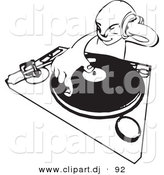 Vector Clipart of a DJ Mixing Records While Holding Headphone up to His Ear - Black and White Line Drawing by AtStockIllustration