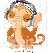 Vector Clipart of a DJ Monkey Closing His Eyes and Listening to Music with Headphones by Pushkin