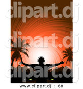 Vector Clipart of a Dj Playing Music at a Tropical Festival by Elaineitalia