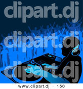 Vector Clipart of a DJ Playing Music with People Dancing in Blue Background by Dero