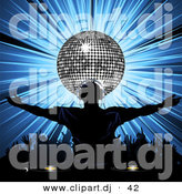 Vector Clipart of a Dj Wearing Headphones in Front of Silver Disco Ball over Bursting Blue Background by Elaineitalia