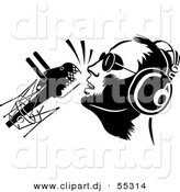 Vector Clipart of a DJ Wearing Headphones While Speaking into Retro Microphone - Black and White Version by Frisko