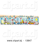 Vector Clipart of a Downtown Parade BorderDowntown Parade Border by Johnny Sajem