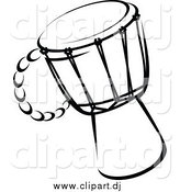 Vector Clipart of a Drum Black and White by Vector Tradition SM