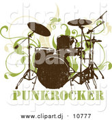 Vector Clipart of a Drumset over Green Vines on a White Background by OnFocusMedia