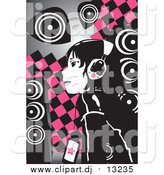 Vector Clipart of a Emo Girl Wearing Headphones over Pink and Black Checkers by Mayawizard101