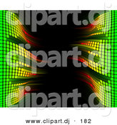 Vector Clipart of a Faded Equalizer Bars Framing Black Background by AtStockIllustration