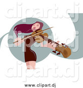 Vector Clipart of a Female Red Haired Violinist by Mayawizard101