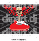 Vector Clipart of a Flaming Skull over a Red Electric Guitar on a Gray and Black Background by David Rey