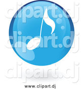 Vector Clipart of a Floating Blue Music Note Icon by Cidepix