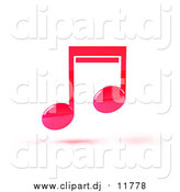 September 18th, 2015: Vector Clipart of a Floating Pink 3d Music Note by Julos