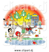 January 22nd, 2015: Vector Clipart of a Frat House Pool Party with Guys, Women and Liquor by Andy Nortnik