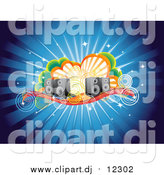 Vector Clipart of a Funky Burst Music Background of Speakers, Circles and Clouds by Qiun