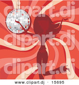 Vector Clipart of a Girl Dancing in Front of Red Swirl Background and a Disco Ball by Character Market