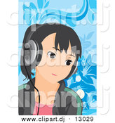 February 2nd, 2016: Vector Clipart of a Girl Listening to Music over Blue Floral by Mayawizard101
