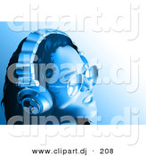 Vector Clipart of a Girl Wearing Headphones and Sunglasses - Blue Toned Version by Dero