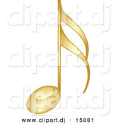 Vector Clipart of a Gold 3d Music Note by Andrei Marincas