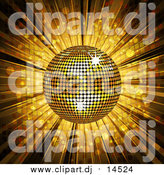 Vector Clipart of a Gold Disco Ball and Mosaic Background by Elaineitalia