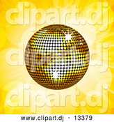Vector Clipart of a Gold Disco Ball on Yellow Flares and Rays by Elaineitalia