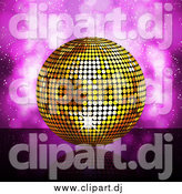 Vector Clipart of a Gold Disco Ball over Purple Flares by Elaineitalia