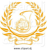 Vector Clipart of a Gold French Horn Instrument Surrounded by a Laurel Design with a Blank Banner Below by Vector Tradition SM