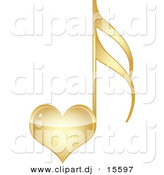 Vector Clipart of a Gold Love Heart Music Note by Andrei Marincas