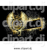 Vector Clipart of a Gold Winged Music Speaker on a Blank Black Text Box, Bordered by Gold Grunge with Gray Circles on Black by KJ Pargeter