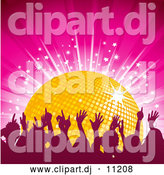 Vector Clipart of a Golden Disco Ball on a Pink Background with Dancers and a Burst of Stars by Elaineitalia