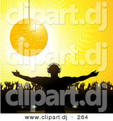 Vector Clipart of a Golden Disco Ball over Silhouetted Crowd and Party DJ by Elaineitalia