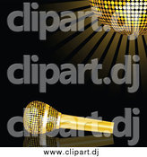 Vector Clipart of a Golden Microphone Resting on a Reflective Black Surface Under a Glowing Golden Mirror Disco Ball by Elaineitalia