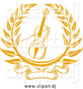 Vector Clipart of a Golden Violin or Viola Laurel by Vector Tradition SM