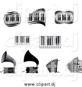 Vector Clipart of a Grammophones, Accordions and Piano Keyboards by Vector Tradition SM