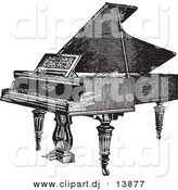 Vector Clipart of a Grand Piano - Vintage Black and White Sketched Version by BestVector