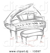 Vector Clipart of a Grand Piano with Bench - Sketched Version by BNP Design Studio
