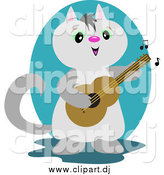 Vector Clipart of a Gray Guitarist Cat Playing Music by