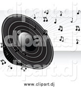 Vector Clipart of a Grayscale Loud Radio Speaker Blaring Loud Music with Notes by Elaineitalia