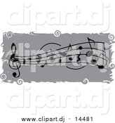 November 9th, 2015: Vector Clipart of a Grayscale Music Notes Banner with Grungy White Borders and Swirls by Pams Clipart